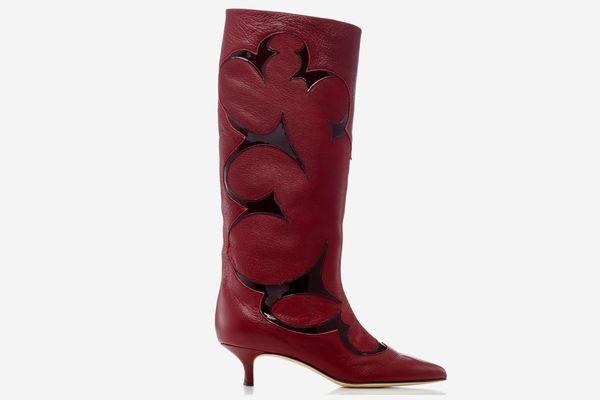 Tibi Jagger Patent-Trimmed Leather Boots