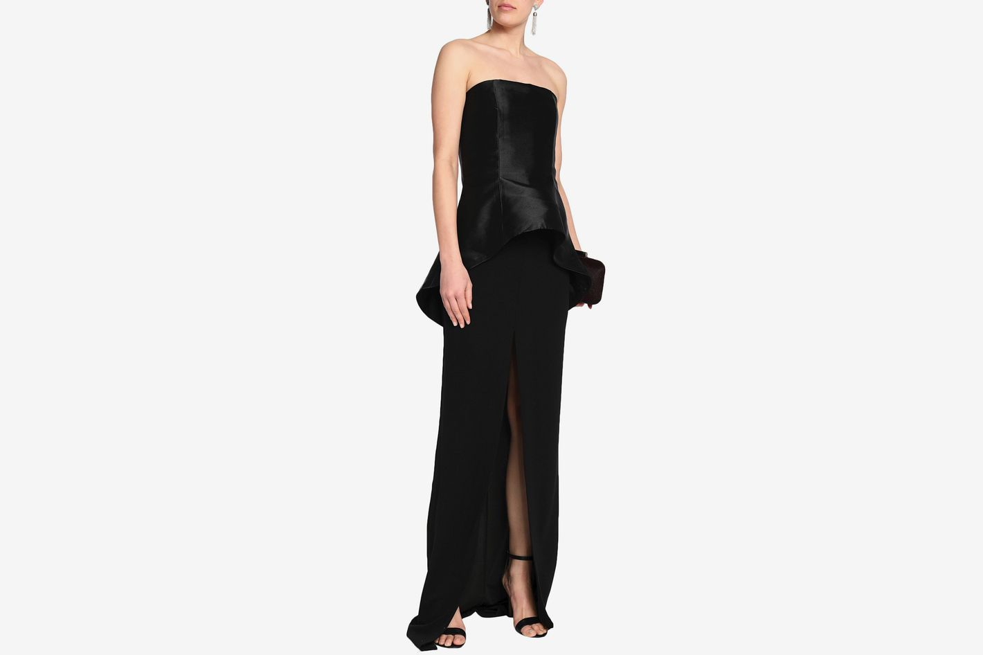 Solace London Strapless Crepe Gown