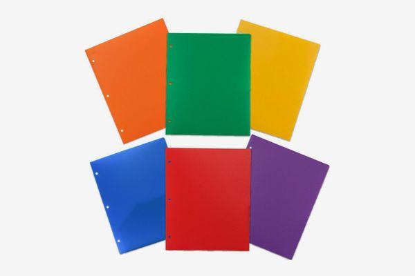 Jam Paper Heavy Duty Plastic 3-Hole Punch Folders