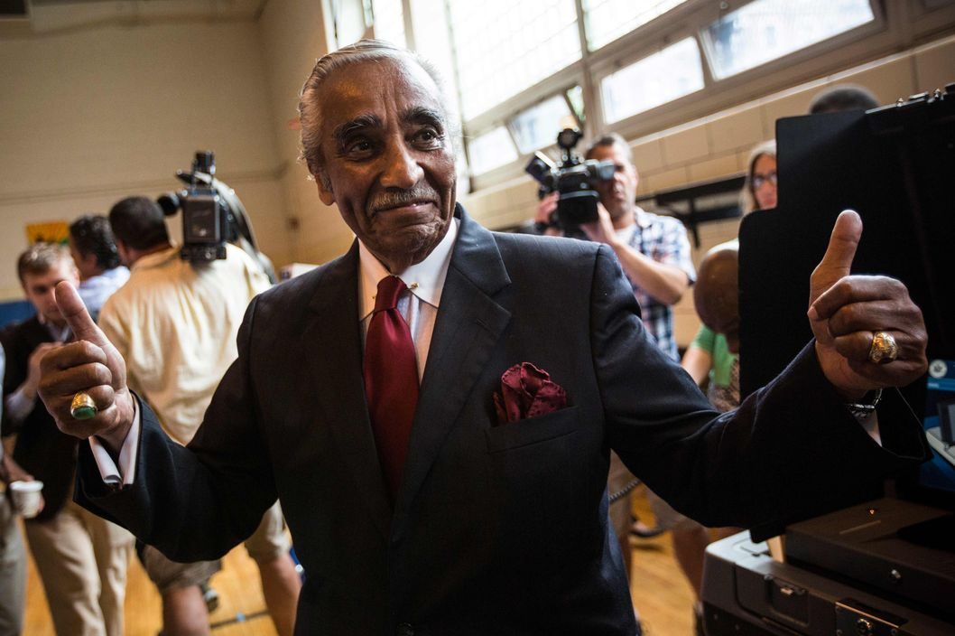 NEW YORK, NY - JUNE 24:  Rep. Charlie Rangel (D-NY) gives a thumbs up after voting in the Democratic Primary for the 13th District congressional district of New York on June 24, 2014 in the Harlem neighborhood of New York City.   The 84-year-old congressman faces a tight Democratic primary election against state Sen. Adriano Espaillat. (Photo by Andrew Burton/Getty Images)