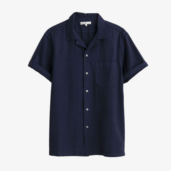 Camp Shirt in Garment-Dyed Seersucker