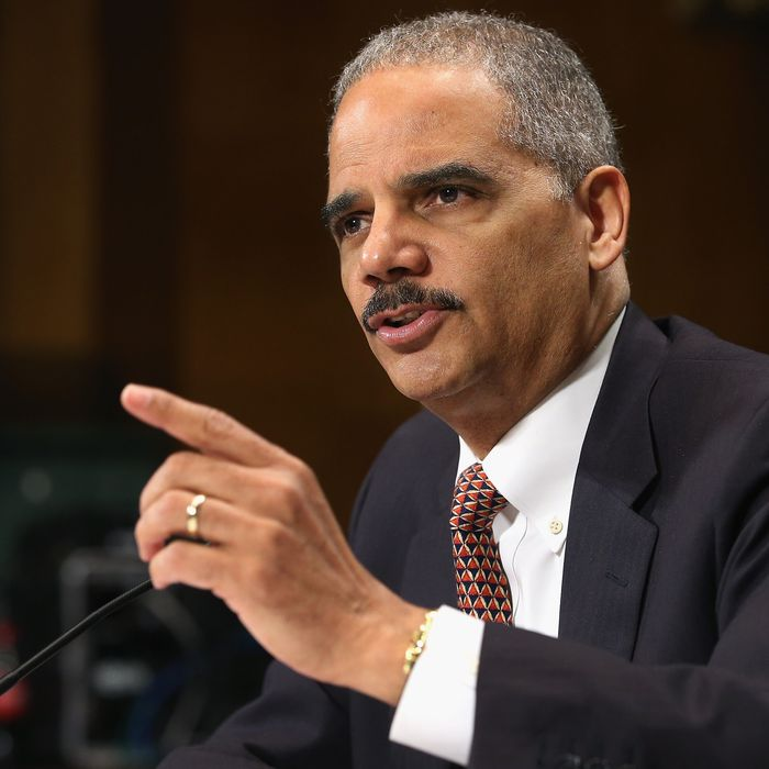 U.S. Attorney General Eric Holder testifies before the Senate Judiciary Committee on Capitol Hill March 6, 2013 in Washington, DC. Holder was asked about a variety of topics, including the federal budget sequester, the Fast and Furious program, the use of drone strikes on domestic targets and voter rights.