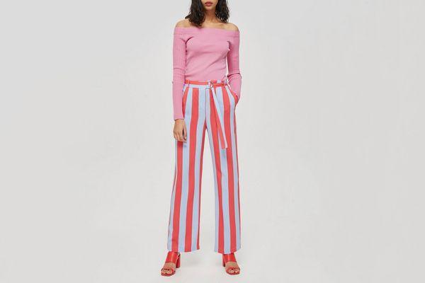 Candy Stripe Wide Leg Trousers