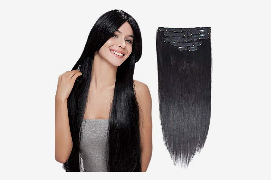 "BHF HAIR Clip in Hair Extensions, Jet Black, 16"", 70grams, 6pieces"