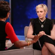 "GOOD MORNING AMERICA - Lena Dunham is a guest on ""Good Morning America,"" 9/30/14 airing on the ABC Television Network. (Photo by Fred Lee/ABC via Getty Images)ROBIN ROBERTS, LENA DUNHAM"