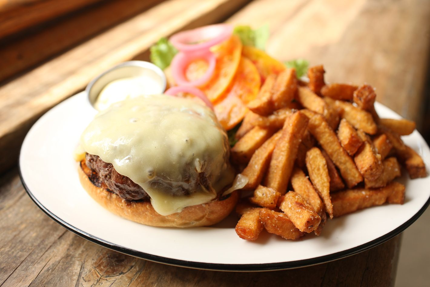 Diner's burger and fries.