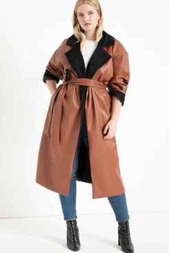 Eloquii Colorblocked Faux Leather Coat