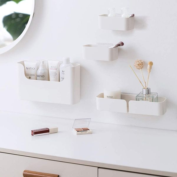Poeland Floating Shelf Wall Mounted Non-Drilling Adhesive Bathroom Organizer