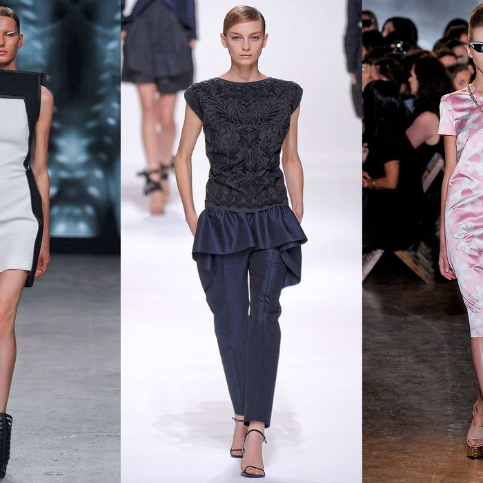 From left: new spring looks from Gareth Pugh, Dries Van Noten, and Rochas.