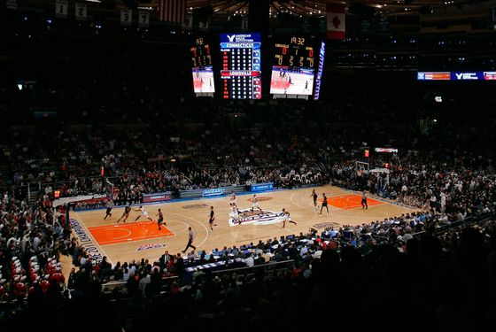NEW YORK, NY - MARCH 12:  A general view at the opening tip off between the Connecticut Huskies and the Louisville Cardinals during the championship of the 2011 Big East Men's Basketball Tournament presented by American Eagle Outfitters at Madison Square Garden on March 12, 2011 in New York City.  (Photo by Mike Lawrie/Getty Images)