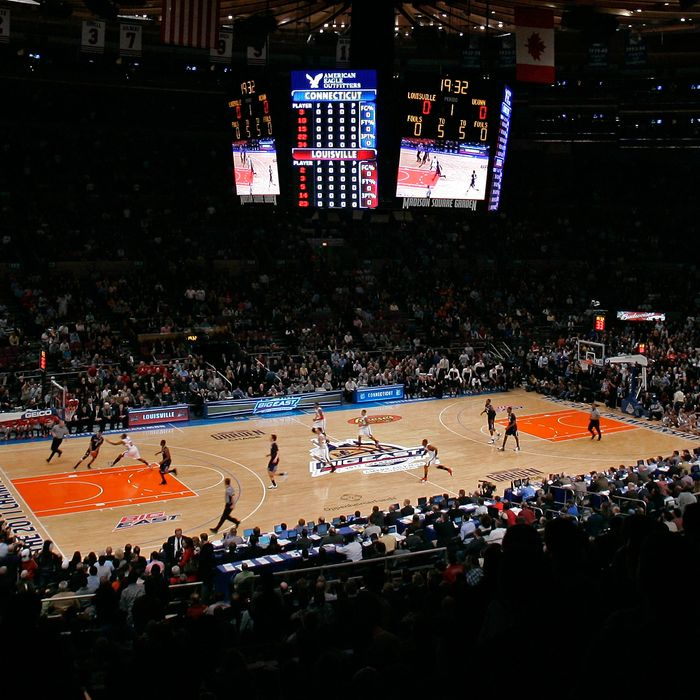 A general view at the opening tip off between the Connecticut Huskies and the Louisville Cardinals during the championship of the 2011 Big East Men's Basketball Tournament at Madison Square Garden on March 12, 2011 in New York City.