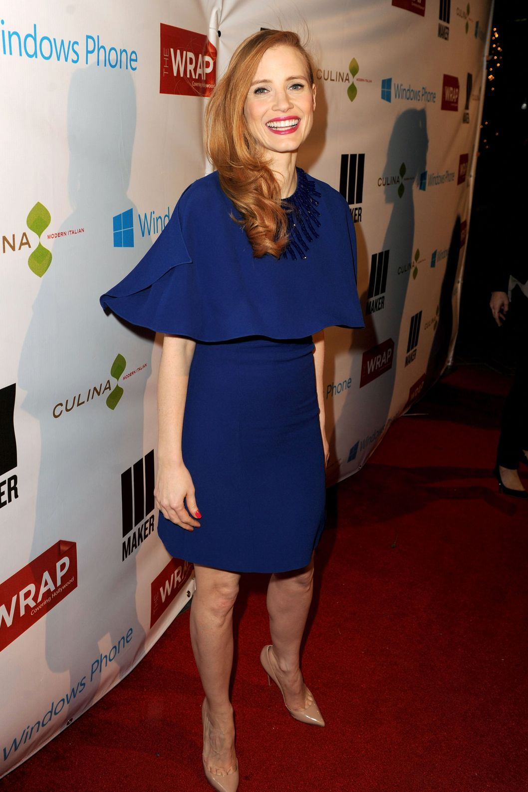 Actress Jessica Chastain arrives at TheWrap 4th Annual Pre-Oscar Party at Four Seasons Hotel Los Angeles at Beverly Hills on February 20, 2013 in Beverly Hills, California.