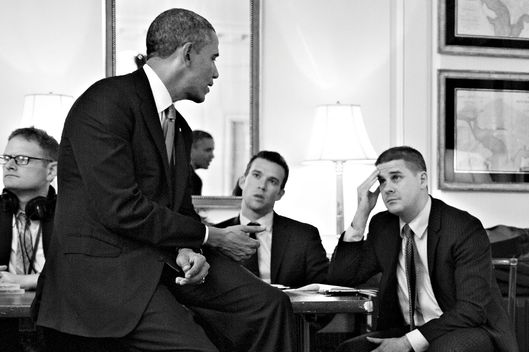 President Barack Obama works on his speech regarding Syria during podium speech prep in the Map Room of the White House, Sept. 10, 2013.  Participating are: former Director of Speechwriting Jon Favreau;  Director of Speechwriting Cody Keenan; Senior Advisor Dan Pfeiffer;  and Ben Rhodes, Deputy National Security Advisor for Strategic Communications. (Official White House Photo by Pete Souza)This official White House photograph is being made available only for publication by New York Magazine and/or for personal use printing by the subject(s) of the photograph. The photograph may not be manipulated in any way and may not be used in commercial or political materials, advertisements, emails, products, promotions that in any way suggests approval or endorsement of the President, the First Family, or the White House.