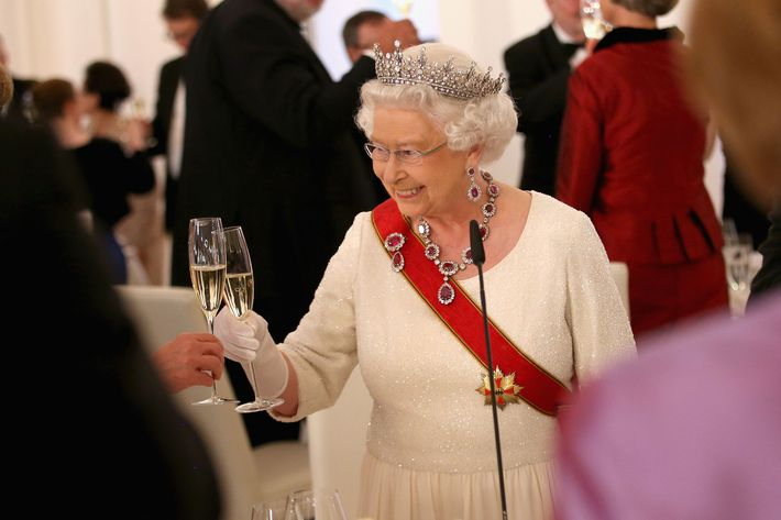 Queen Elizabeth with Champagne.