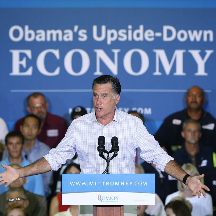 IRWIN, PA - JULY 17: Republican presidential candidate and former Massachusetts Gov. Mitt Romney speaks at a campaign rally at Horizontal Wireline Services July 17, 2012 in Irwin, Pennsylvania. Romney is campaigning today and tomorrow in the battleground states of Pennsylvania and Ohio as speculation on his vice presidential candidate continues to build. (Photo by Win McNamee/Getty Images)