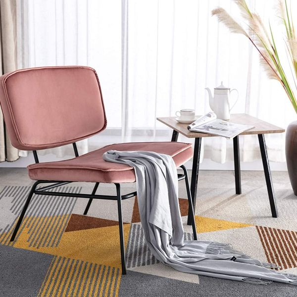 Wahson `Soft Upholstered Velvet Tub Chair with Black Metal Legs