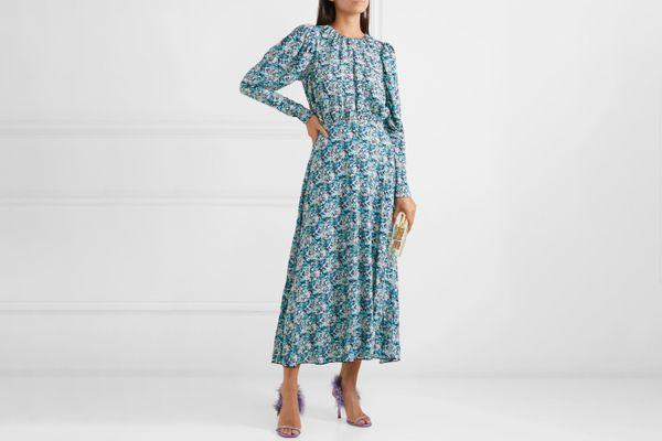 Rotate Birger Christensen Open-Back Floral-Print Midi Dress