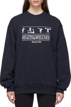 Sporty & Rich Navy 'Health & Wellness' Sweatshirt