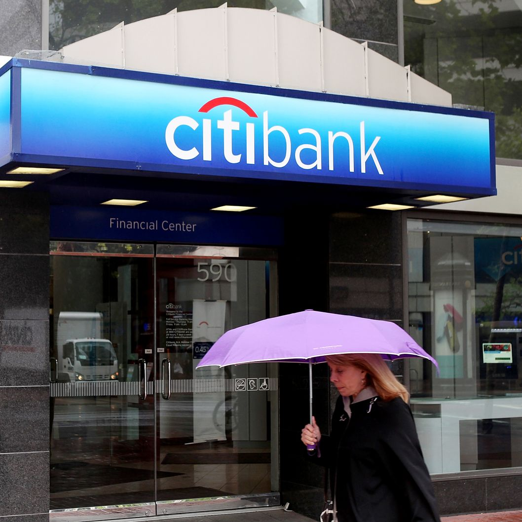 A pedestrian walks by a CitiBank branch office on April 18, 2011 in San Francisco, California.