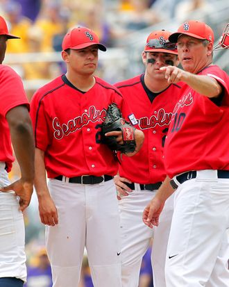 June 8, 2012: Stony Brook Seawolves head coach Matt Senk talks to his team during the NCAA baseball game between the LSU Tigers and the Stony Brook Seawolves at Alex Box Stadium in Baton Rouge, LA.