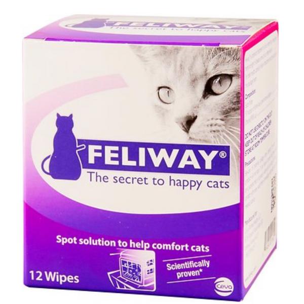 Feliway Calming Travel Cat Wipes, 12-Count Box