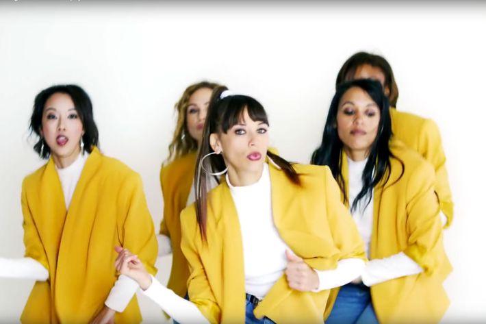 """Rashida Jones in the video for """"Flip and Rewind."""""""