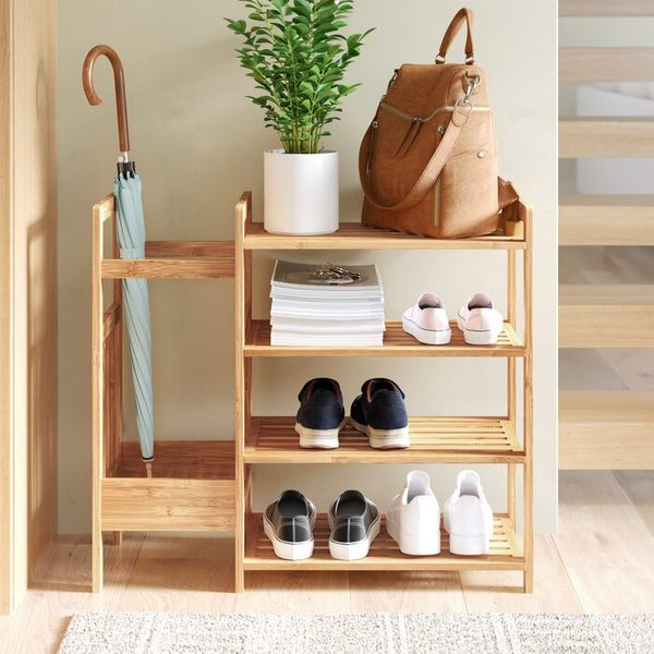 Wayfair Dotted Line Bamboo Entryway 8 Pair Shoe Rack