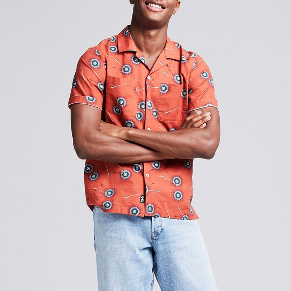 Todd Snyder Bullseye Print Camp Collar Short Sleeve Shirt