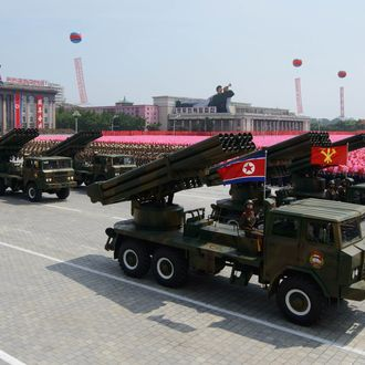 North Korean rocket launchers pass through Kim Il-Sung square during a military parade marking the 60th anniversary of the Korean war armistice in Pyongyang on July 27, 2013.