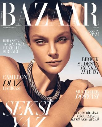 Jessica Stam for Turkish <em>Harper's Bazaar</em>.
