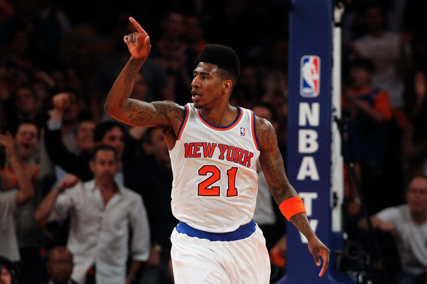 NEW YORK, NY - MAY 7:   Iman Shumpert #21 of the New York Knicks reacts against the Indiana Pacers during Game Two of the Eastern Conference Semifinals of the 2013 NBA Playoffs at Madison Square Garden on May 7, 2013 in New York City. NOTE TO USER: User expressly acknowledges and agrees that, by downloading and/or using this photograph, user is consenting to the terms and conditions of the Getty Images License Agreement. (Photo by Jeff Zelevansky/Getty Images)