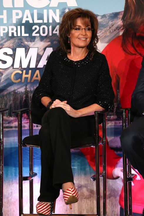 PASADENA, CA - JANUARY 10:  Sarah Palin and Sportsman Channel host breakfast during the 2014  Winter Television Critics Association tour at the Langham Hotel on January 10, 2014 in Pasadena, California.  (Photo by Frederick M. Brown/Getty Images)