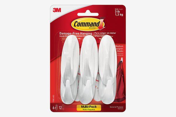 Command Designer Hooks, Medium, White, 6-Hooks