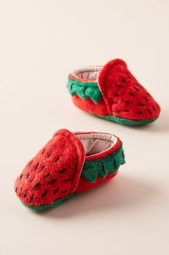 Anthropologie Strawberry Baby Booties