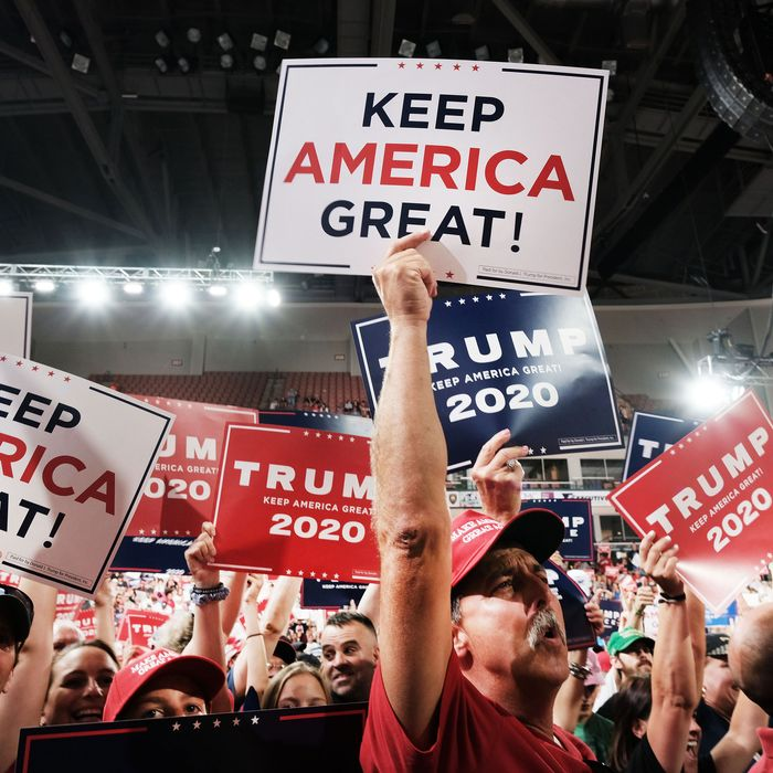 Scene from a Trump rally, 2019.