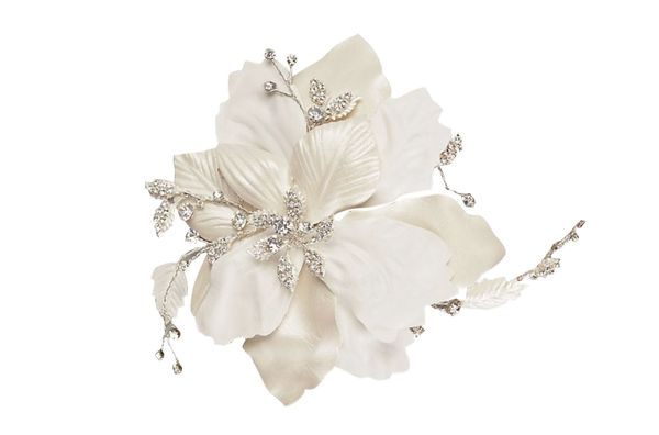 Faux-leather floral clip with crystals