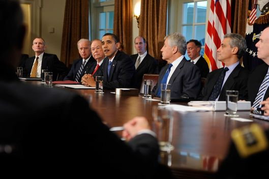 WASHINGTON - OCTOBER 28: (AFP-OUT) President Barack Obama names Sen. Chuck Hagel (R-NE) (3rd R) and David Boren (3rd L) co-chairmen of the President's Intelligence Advisory Board October 28, 2009 in the Cabinet Room of the White House in Washington, D.C. The board reports directly to the president as an independent source of advice on intelligence matters including the quality and quantity of intelligence activities and the effectiveness of organization structure, management and personnel.  (Photo by Shawn Thew-Pool/Getty Images) *** Local Caption *** David Boren;Chuck Hagel;Barack Obama
