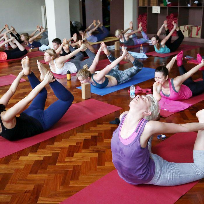 A Lululemon yoga class.