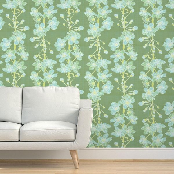 Spoonflower Cherry Sprigs Sage By Foxlark Removable Self Adhesive Wallpaper Roll