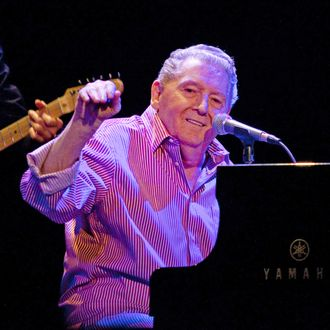 POMONA, CA - SEPTEMBER 25: Jerry Lee Lewis performs on his 75th birthday at the Fox Theatre on September 25, 2010 in Pomona, California. (Photo by Noel Vasquez/Getty Images) *** Local Caption *** Jerry Lee Lewis