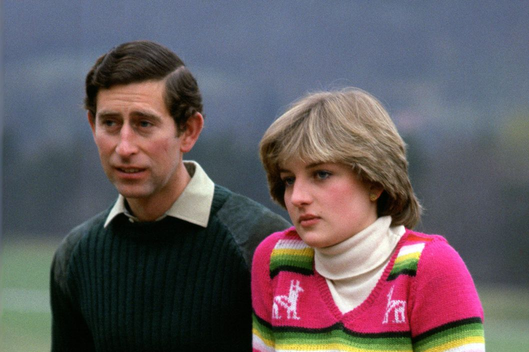 Prince Charles, Prince of Wales with his fiance Lady Diana Spencer during a photocall before their wedding while staying at Craigowan Lodge on the Balmoral Estate in Scotland
