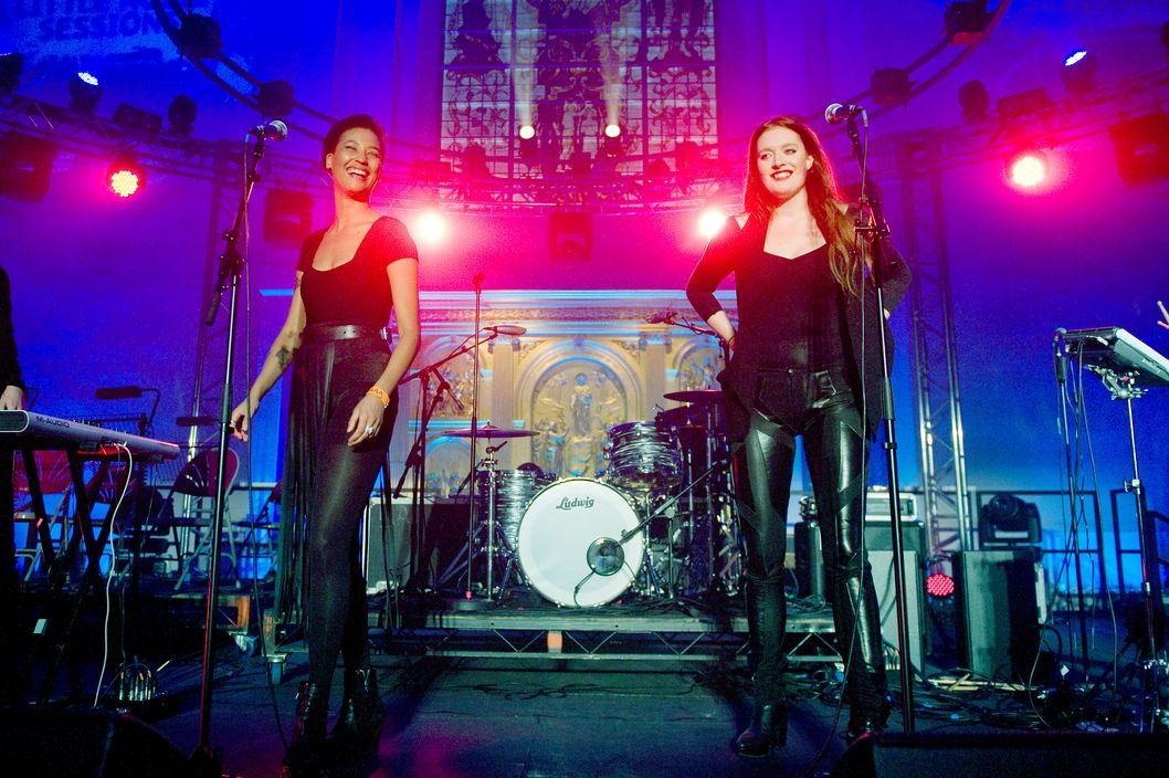 Caroline Hjelt and Aino Jawo of Icona Pop perform during Mencap's Little Noise Sessions at St John-at-Hackney Church on November 23, 2011 in London, England.