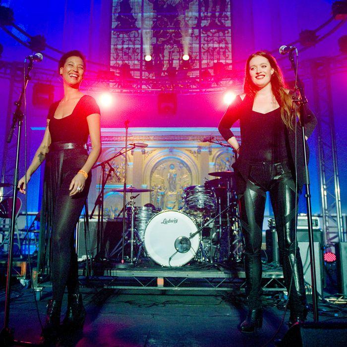 Caroline Hjelt and Aino Jawo of Icona Pop perform during Mencap's Little Noise Sessions at St John-at-Hackney Church on November 23, 2011 in London, England.