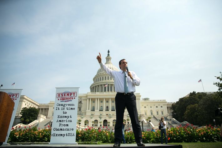 "U.S. Sen. Ted Cruz (R-TX) speaks during the ""Exempt America from Obamacare"" rally,  on Capitol Hill, September 10, 2013 in Washington, DC. Some conservative lawmakers are making a push to try to defund the health care law."