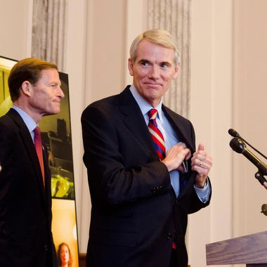 Rob Portman speaks during the launch of the Senate Caucus to End Human Trafficking at the Russell Senate Office Building on November 14, 2012 in Washington, DC.