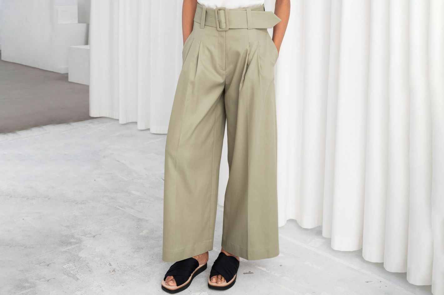 & Other Stories High Waisted Belted Flare Pants