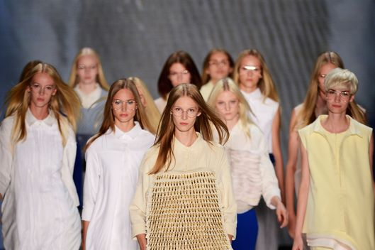 Models walk the catwalk during Steven Tai Runway at Mercedes-Benz Fashion Week Spring/Summer 2013 on July 6, 2012 in Berlin, Germany.