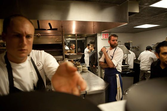 Next's executive chef Dave Beran (left) and the Aviary's Andrew Brochu (right).