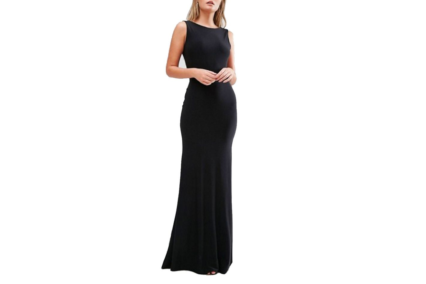 Club L Deep Plunge Back Maxi Dress, Black