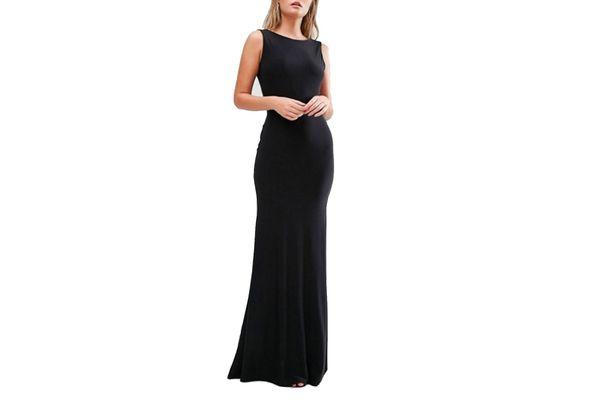 Club L Deep Plunge Back Maxi Dress, Black